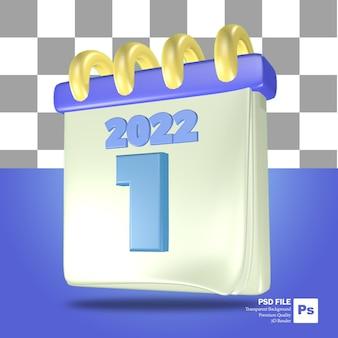 Niebiesko-białe renderowanie 3d obiektu kalendarza wczesnego roku z numerem 1 stycznia