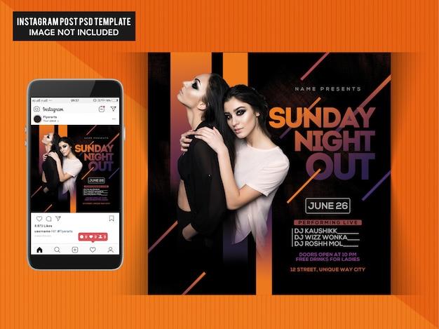 Niedzielna noc party flyer