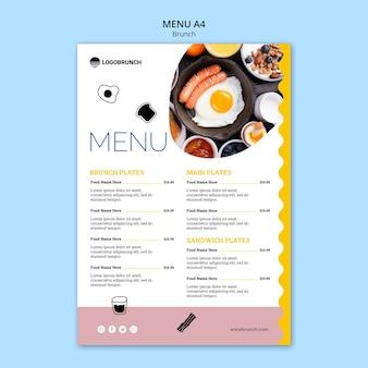 Niedzielny brunch szablon menu żywności