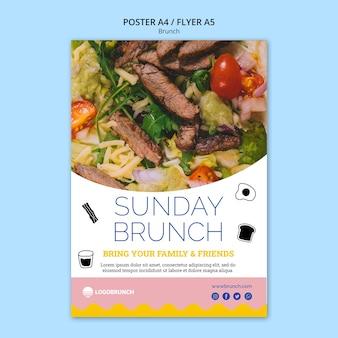 Niedzielny brunch szablon plakat smaczne jedzenie