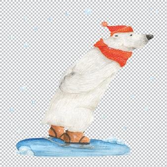 Niedźwiedź polarny na łyżwach pod padający śnieg. ilustracja akwarela, elementy warstwowe