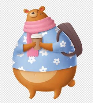 Niedźwiedź z kawą i plecakiem