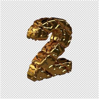 Nieoszlifowane złote cyfry skręciły w prawo. 3d numer 2
