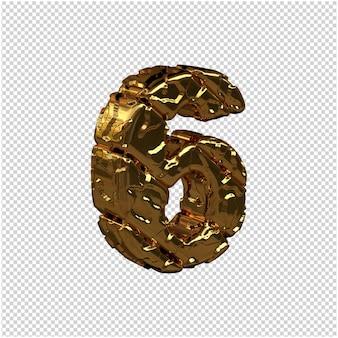 Nieoszlifowane złote cyfry skręciły w prawo. 3d numer 6