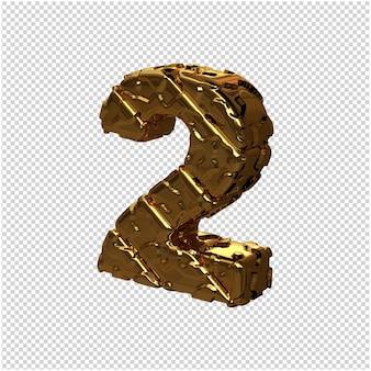 Nieoszlifowane złote cyfry zwróciły się w lewo. 3d numer 2