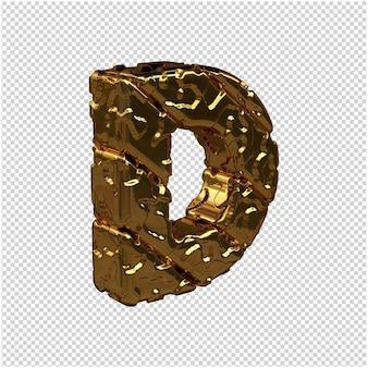 Niepolerowane litery ze złota zwrócone w prawo. 3d wielka litera d