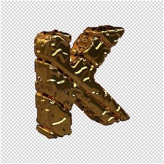 Niepolerowane litery ze złota zwrócone w prawo. 3d wielka litera k