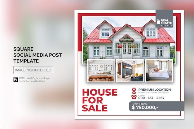 Nieruchomość dom nieruchomość instagram post lub kwadratowy baner internetowy szablon reklamowy .