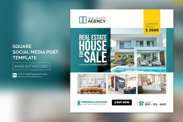 Nieruchomość dom nieruchomość instagram post lub kwadratowy baner reklamowy szablon reklamowy .