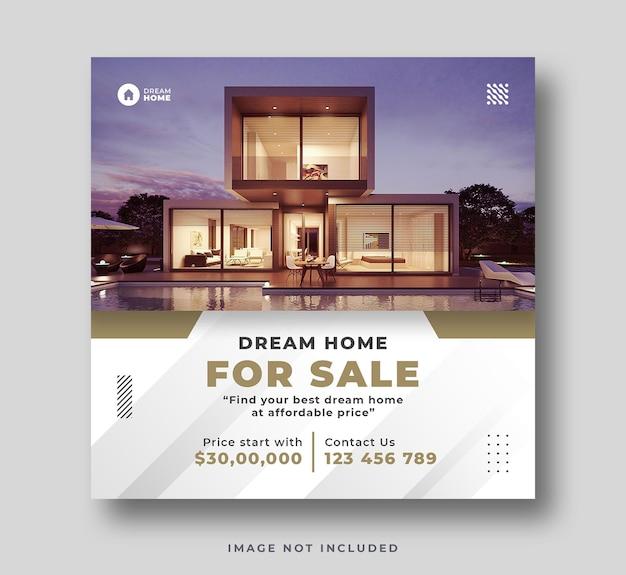 Nieruchomość dom sprzedaż social media instagram post banner