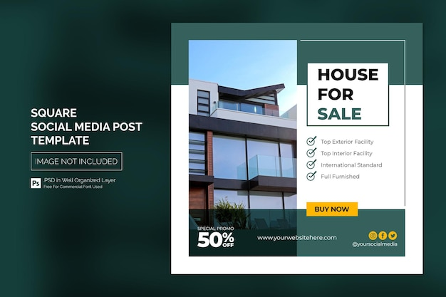 Nieruchomość house property instagram post lub square web banner advertising template