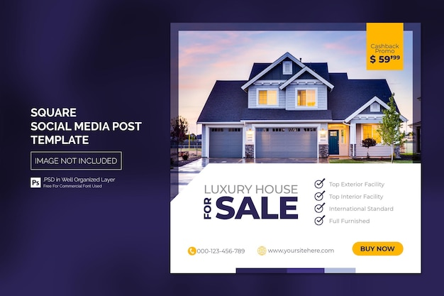 Nieruchomość house property post lub square web banner szablon reklamowy