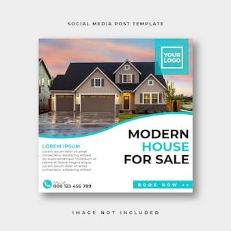 Nieruchomości w mediach społecznościowych na instagramie lub kwadratowym szablonie reklamowym baneru internetowego