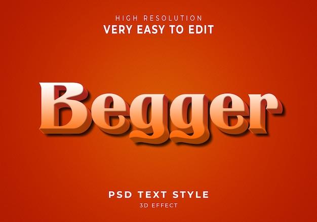 Niesamowity efekt tekstowy begger 3d