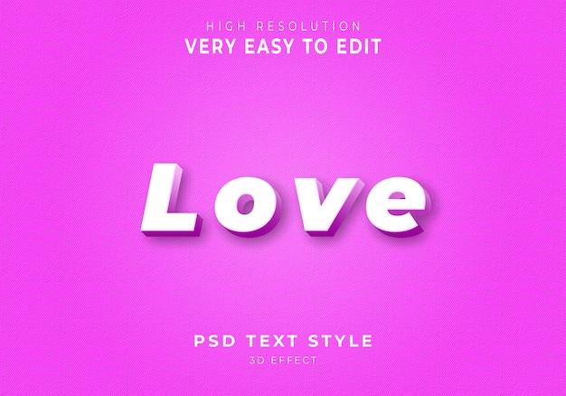 Niesamowity styl tekstu love 3d
