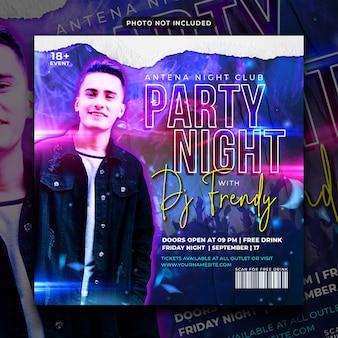 Nocna ulotka na imprezę w mediach społecznościowych i baner internetowy
