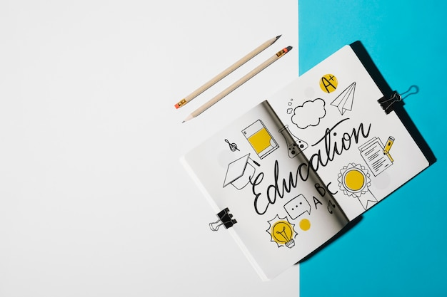 Notatnik makieta dla edukaci pojęcia
