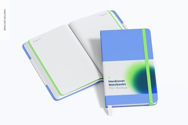 Notebooki w twardej oprawie z makietą elastycznej opaski, otwarte i zamknięte