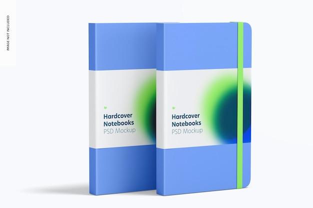 Notebooki w twardej oprawie z makietą elastycznej opaski, widok z lewej strony