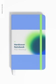 Notebooki w twardej oprawie z makietą elastycznej opaski, widok z przodu