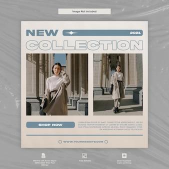 Nowa kolekcja fashion instagram post szablon premium w mediach społecznościowych