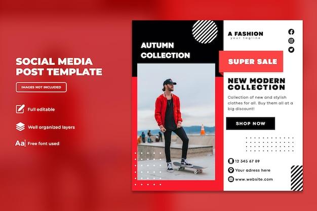 Nowa kolekcja jesienna moda na instagram szablon postu