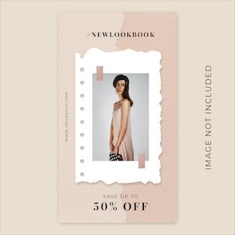 Nowa kolekcja moda sezon rozdarty papier instagram szablon transparent historie