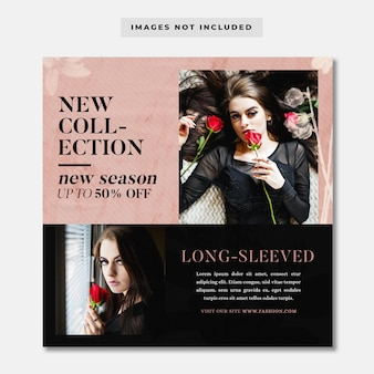 Nowa kolekcja sprzedaży mody baner społecznościowy szablon instagram