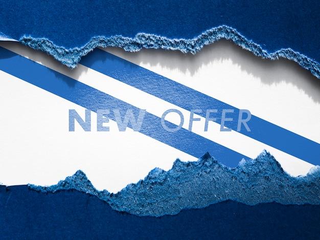 Nowa oferta sklepu odzieżowego makieta na papierze