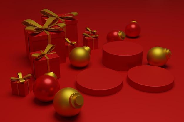 Nowoczesna czerwona świąteczna scena podium do reklamy produktu