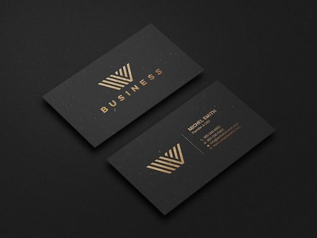 Nowoczesna i luksusowa makieta ciemnej wizytówki