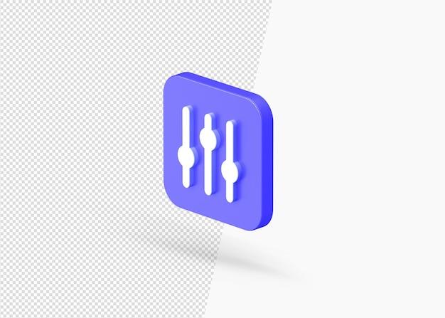 Nowoczesna ikona kontrolera miksera dźwięku z renderowania 3d