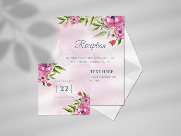 Nowoczesna kwiatowa ręcznie rysowana akwarela papierowa makieta z nakładką cienia