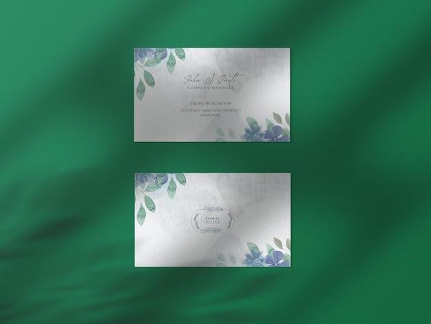 Nowoczesna kwiatowa ręcznie rysowana akwarelowa makieta papierowa wizytówka