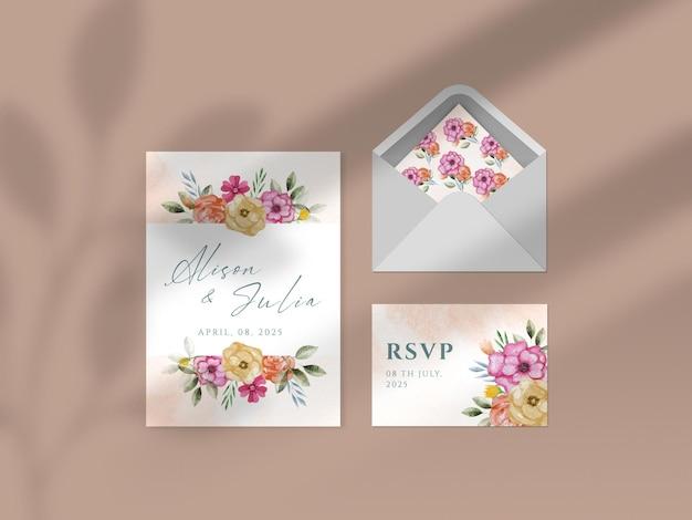 Nowoczesna kwiatowa ręcznie rysowane akwarelowa makieta papierowa wizytówka