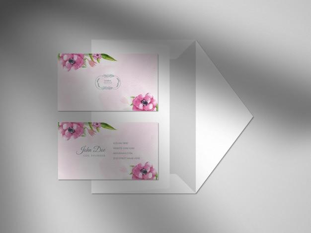 Nowoczesna kwiatowa ręcznie rysowane akwarelowa wizytówka papierowa makieta