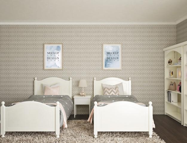 Nowoczesna luksusowa sypialnia dla dzieci z ramą plakatową makiety