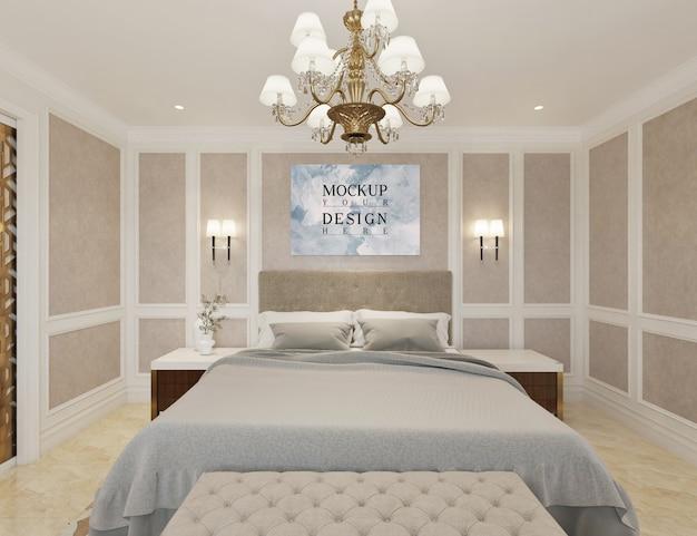 Nowoczesna luksusowa sypialnia z plakatem makiety