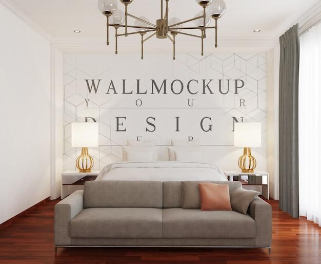 Nowoczesna luksusowa sypialnia ze ścianą makiety