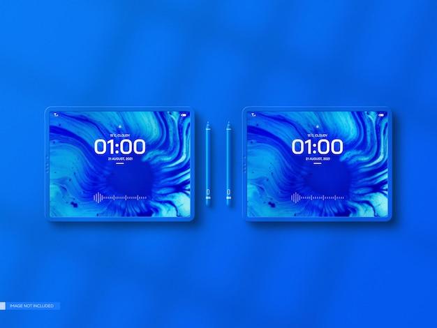 Nowoczesna makieta ekranu tabletu z piórem