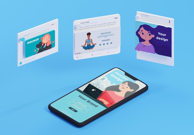 Nowoczesna makieta interfejsu aplikacji mediów społecznościowych