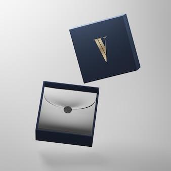 Nowoczesna makieta logo granatowego pudełka do prezentacji marki renderowania 3d