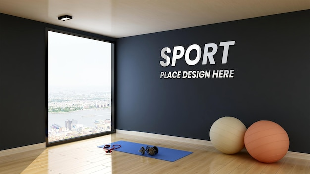 Nowoczesna makieta logo ściany wewnętrznej sali gimnastycznej