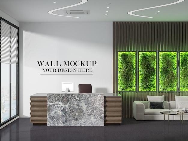 Nowoczesna makieta ściany recepcji w renderowaniu 3d