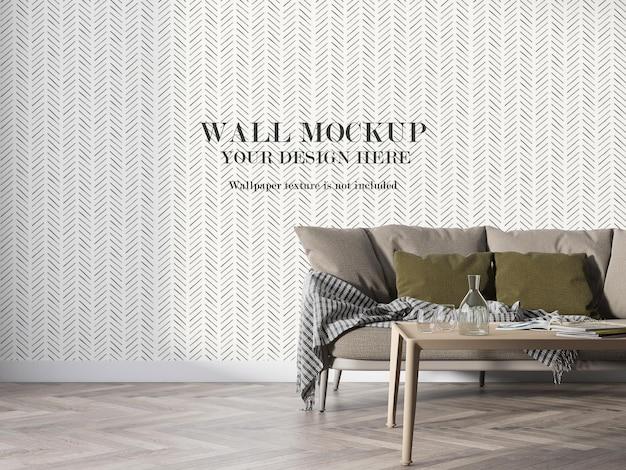 Nowoczesna makieta ściany wewnętrznej w renderowaniu 3d