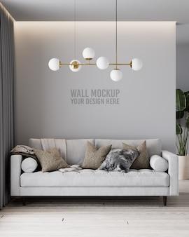 Nowoczesna makieta ścienna do salonu z szarą sofą i poduszkami