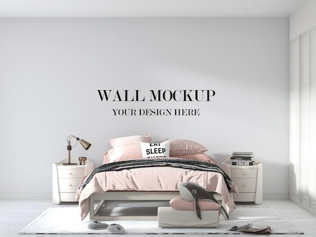 Nowoczesna makieta ścienna do sypialni z wygodnym łóżkiem