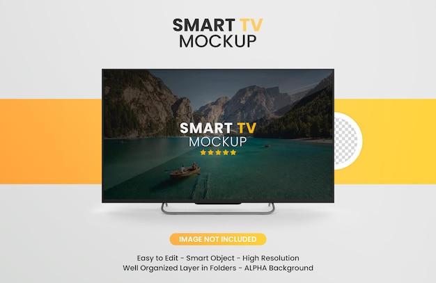 Nowoczesna makieta smart tv na białym tle