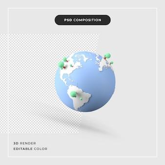 Nowoczesna mapa świata 3d z koncepcją drzewa