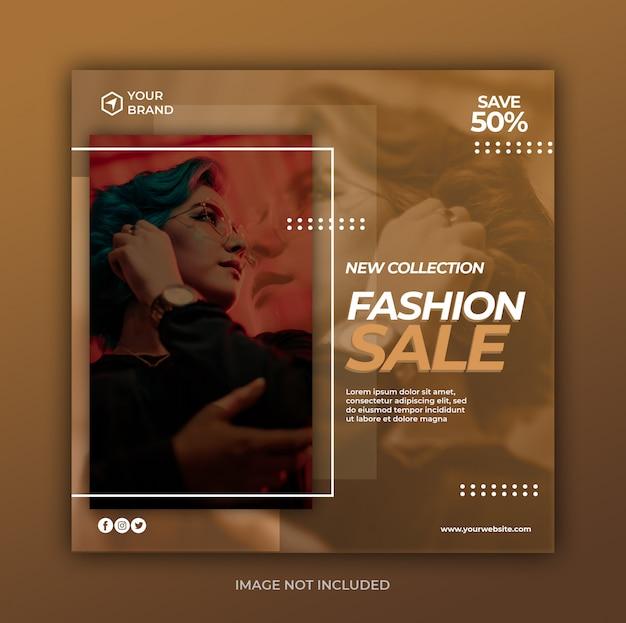 Nowoczesna moda sprzedaż transparent lub kwadratowe ulotki dla szablonu post mediów społecznościowych
